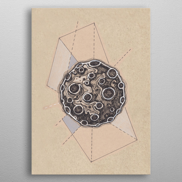 Hand drawn illustration or drawing of a moon and some geometric forms metal poster