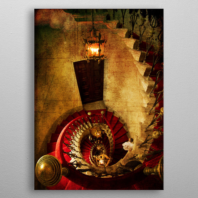 HOW DEEP IS IT THE WHITE RABBIT HOLE?. I do not know why but this picture always remember me the White Rabbit hole of Alice in Wonderland. I took this picture in an old palace in the north of Italy and as soon as I saw a man with a white shirt  climbing the stairs, I knew I had my White Rabbit in the right position for a shot. metal poster