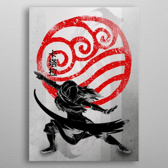 Water bending | Crimson Katara metal poster