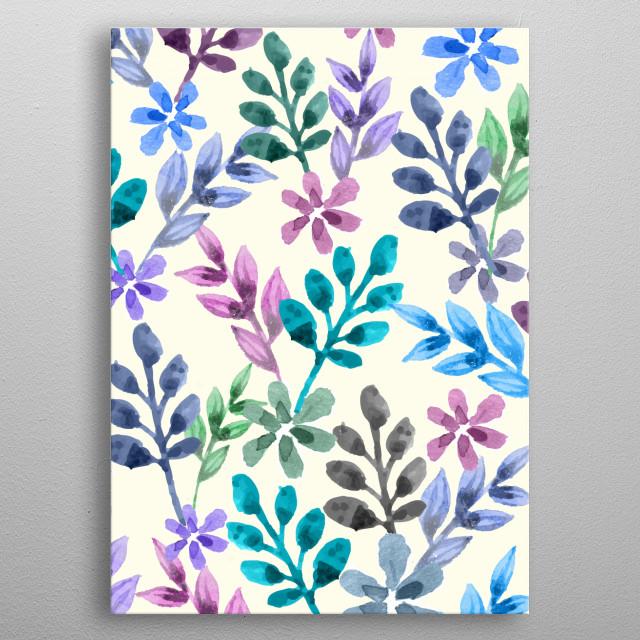 watercolor floral pattern  metal poster