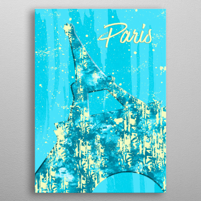 Unique modern graphic artwork of Eiffel Tower  in Paris. Unique pop art impression with jazzy colors! metal poster