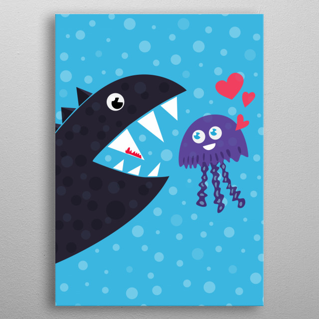 Funny cartoon illustration of a jellyfish who is desperately in love with a hungry sea monster. Poor little thing. metal poster