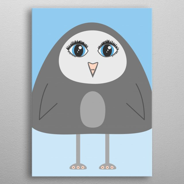 Geometric illustration of a cute cartoon penguin with big blue eyes. metal poster