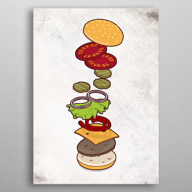 cheeseburger exploded - isometric metal poster