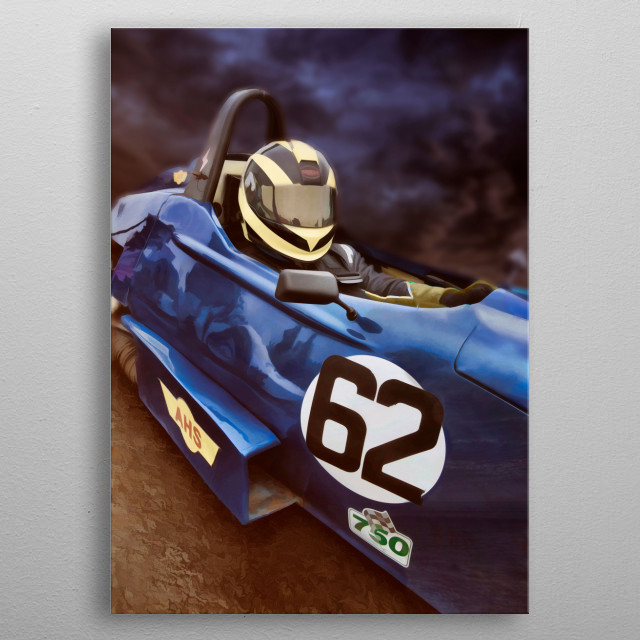 A digital painting of a driver at the formula vee meeting at Tycroes racing track metal poster