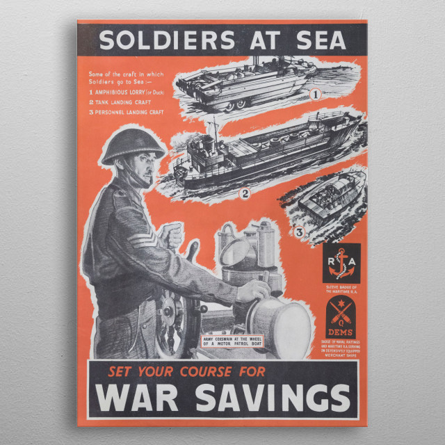 A propaganda message to the people from the government of Winston Churchill, in wartorn Great Britain. From the WW2 Salute the Soldier campaign. Designed to keep the nations morale up. Now out of copyright, in the interests of authenticity these are high quality restorations. Sadly it was not possible to credit the original artists. metal poster