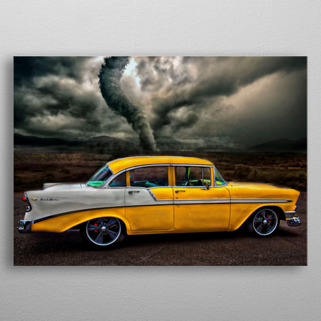 arty automotive painting of a yellow and white chevvy Belaire metal poster