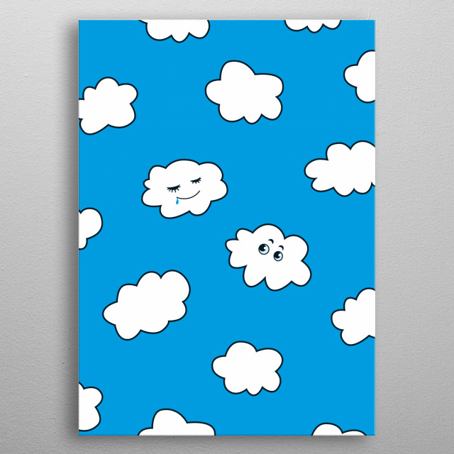 Funny clouds illustration of a sleeping cartoon cute cloud and its friend watching it, floating in a clear blue sky. metal poster