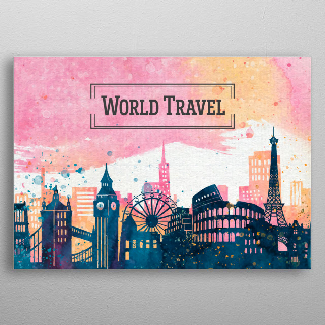 If you're a world traveler, like us, then you'll love this design featuring the most emblematic monuments and buildings around the world.  This would be the perfect addition for your home or your office. metal poster