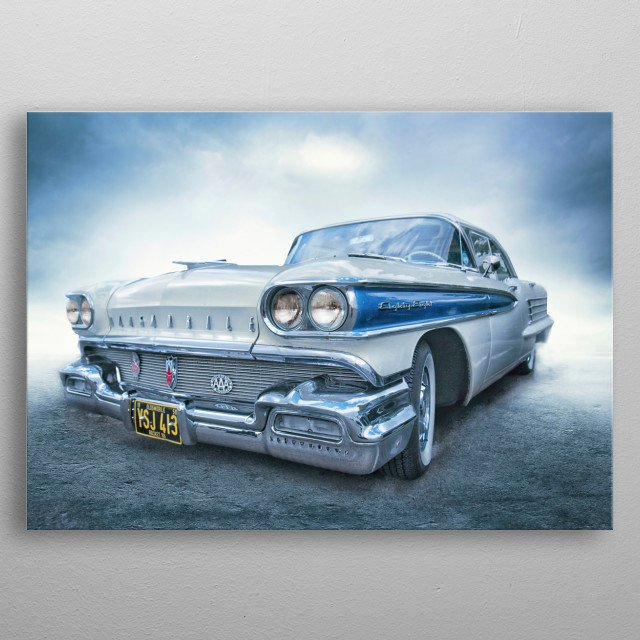 a digital painting created from my photograph of a beautiful Oldsmobile taken at Krispy Creme in Manchester metal poster