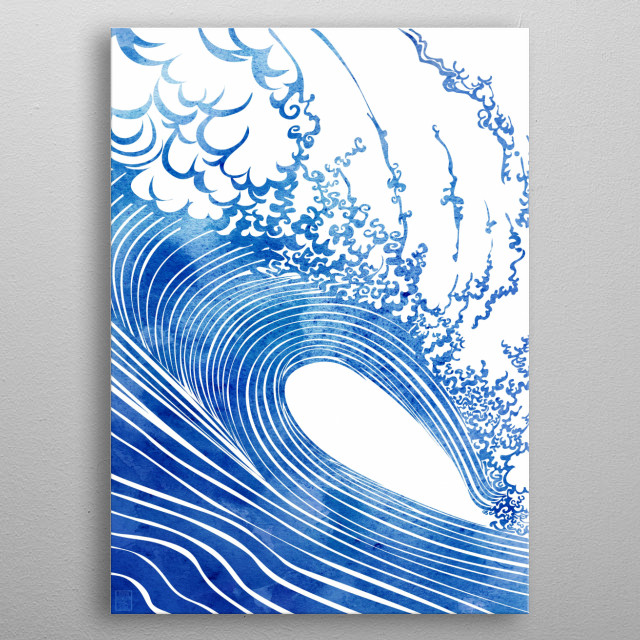 Blue Wave — A wave rendered in vector lines and watercolor by artist Stevyn Llewellyn  metal poster