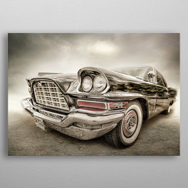 Big black and beautiful. This car had the front end to die for and cried out to be shot and edited. metal poster
