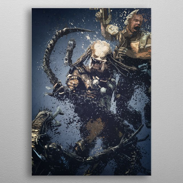 Aliens vs Predator. Splatter effect artwork inspired by... metal poster