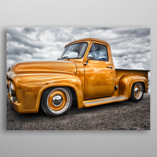 Classic old Chevy truck in gorgeous golden yellow metal flake metalic paint. taken at Krispy creme manchester metal poster