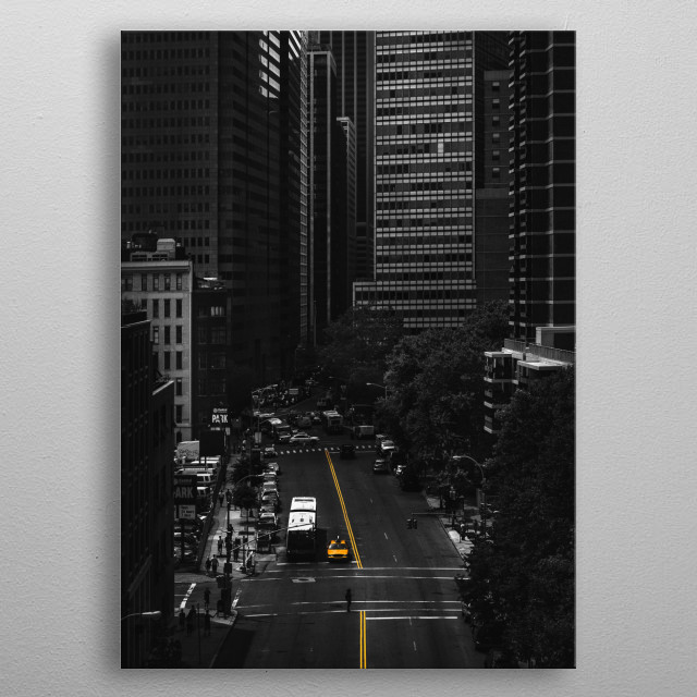New York's financial district as seen from the Booklyn Bridge. The sense of scale between buildings and cars is incredible! metal poster