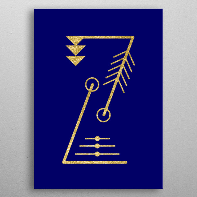 The letter Z with sacred geometry. Gold on blue background. metal poster