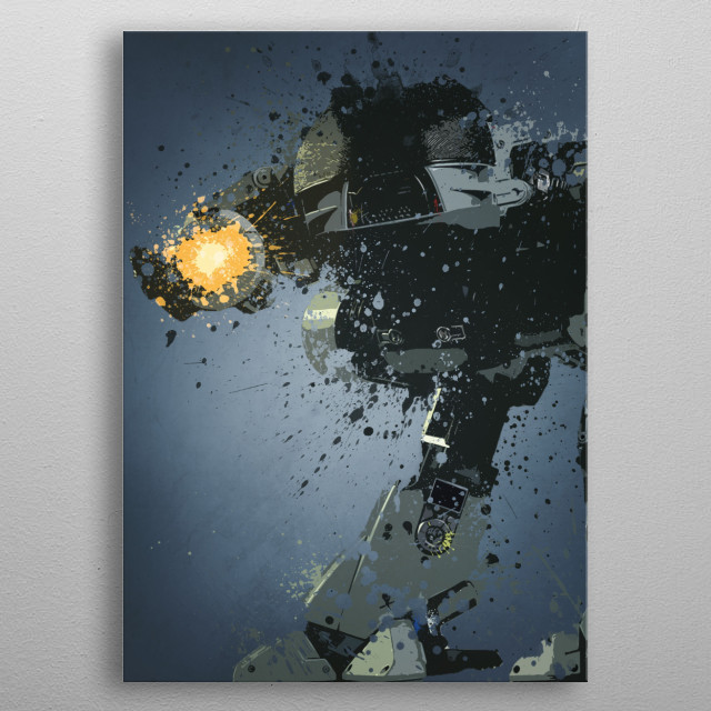 Ed-209. Splatter effect artwork inspired by the Robocop films.  metal poster