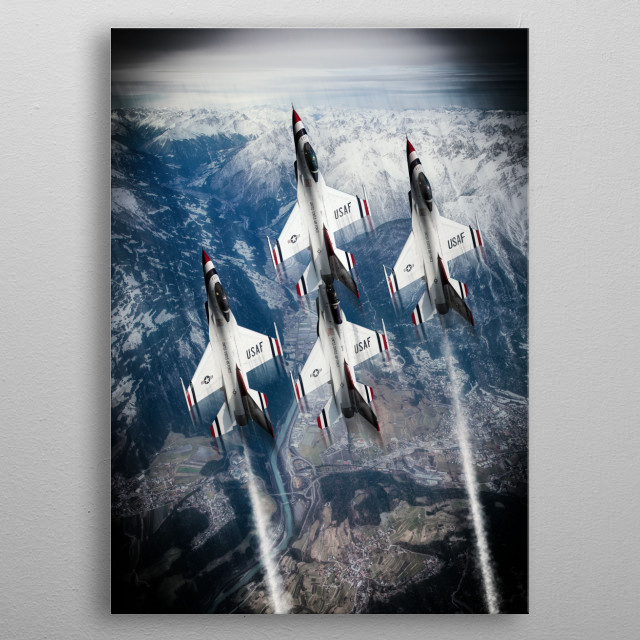 The US Air Force display team the Thunderbirds metal poster