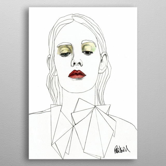 Red Lipstick Part of a series of fashion illustrations. The Original illustration is on A4 fine grain cartridge paper, 160g, acid free. Pencil, pen, marker. For more info: http://www.facebook.com/ExpeditionaryClub https://www.instagram.com/paulnelsonesch metal poster