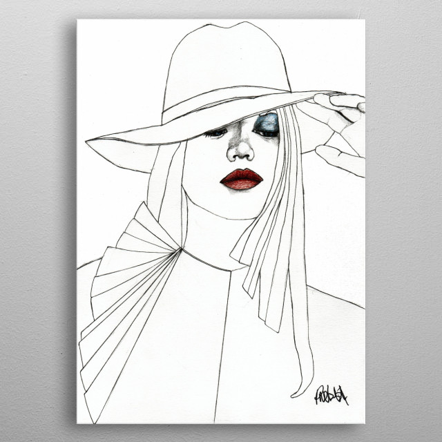 Blue Eyeshadow Part of a series of fashion illustrations. The Original illustration is on A4 fine grain cartridge paper, 160g, acid free. Pen... metal poster