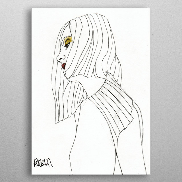 Part of a series of fashion illustrations. The Original illustration is on A4 fine grain cartridge paper, 160g, acid free. Pencil, pen, marker. For more info: http://www.facebook.com/ExpeditionaryClub https://www.instagram.com/paulnelsonesch metal poster