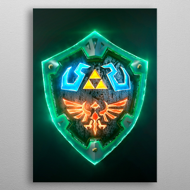 3D Link Hylian Shield. (modeling in Autodesk Maya,post-production, edition  metal poster