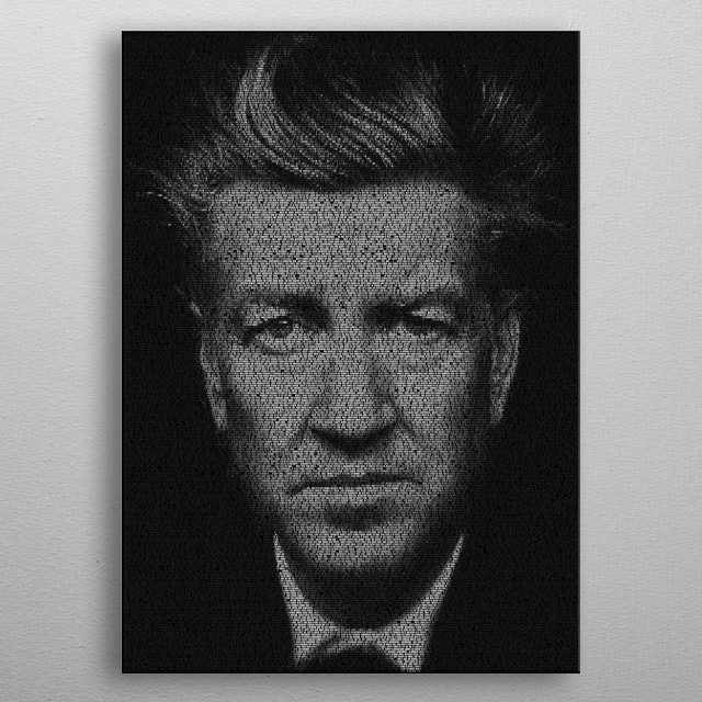 Lynch. A typographic portrait of director David Lynch created from the script of Mulholland Drive (2001). 21,376 words in ITC Machine make th... metal poster