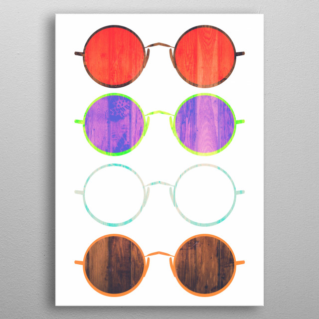 Simple Older Styled glasses artwork. simple and beautiful for the wall metal poster