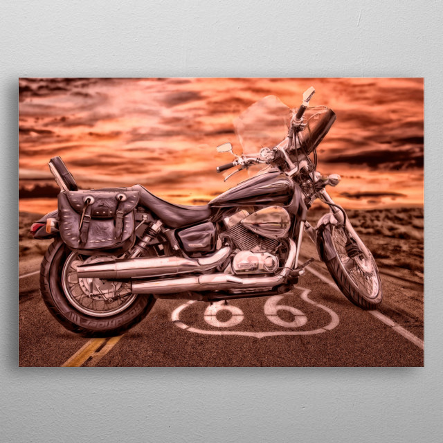 Digial art edit of a friend's beautiful motorbike. He has always dreamed of riding route 66 but cant afford it so I did this for him. metal poster