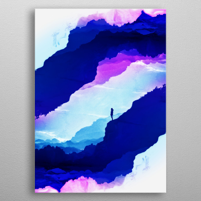 Violet dream of Isolation. Ink graphic of a girl standing in a cool vibrant mountain composition metal poster