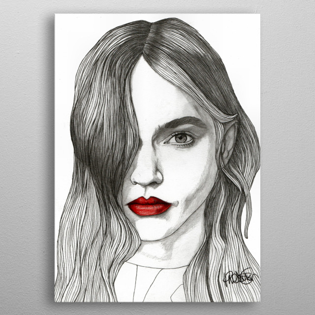 Sasha with Red Lips Part of a series of illustrations called 'Red Lips.' The Original illustration is on A4 fine grain cartridge paper, 1... metal poster