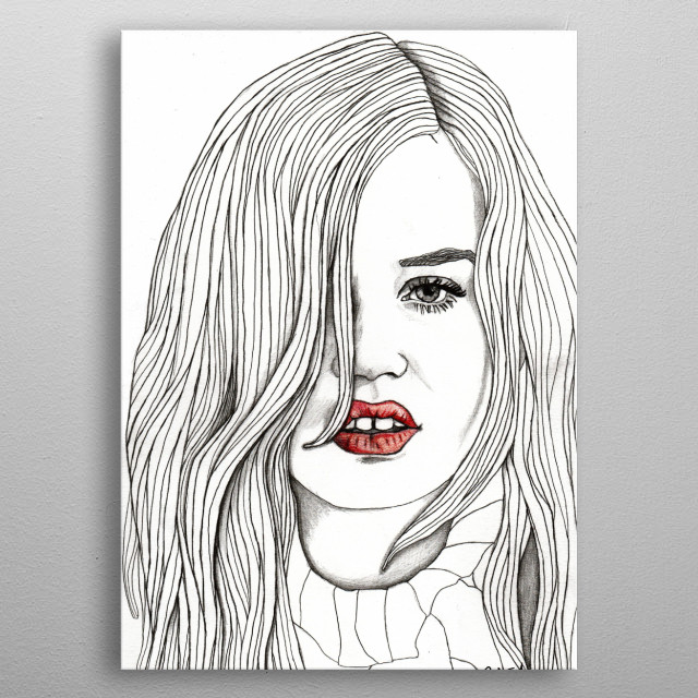 Georgia with Red Lips Part of a series of illustrations called 'Red Lips.' The Original illustration is on A4 fine grain cartridge paper,... metal poster