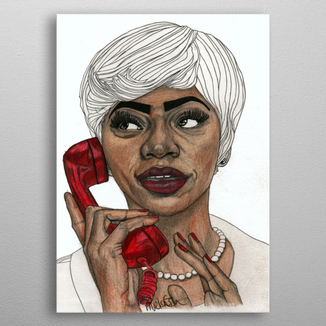Girl with the Red Telephone Part of a series of illustrations called 'Red Lips.' The Original illustration is on A4 fine grain cartridge paper, 160g, acid free. Pencil, pen, marker. For more info: http://www.facebook.com/ExpeditionaryClub https://www.instagram.com/paulnelsonesch metal poster