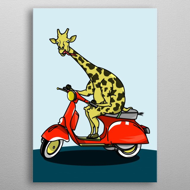 A funny cartoon giraffe riding a red moped. metal poster