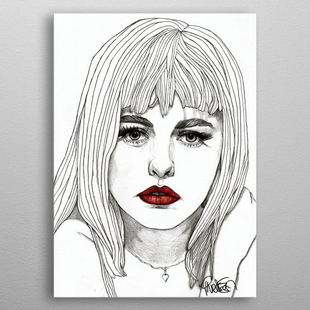 Patsy with Red Lips Georgia with Red Lips Part of a series of illustrations called 'Red Lips.' The Original illustration is on A4 fine grain cartridge paper, 160g, acid free. Pencil, pen, marker. For more info: http://www.facebook.com/ExpeditionaryClub https://www.instagram.com/paulnelsonesch metal poster