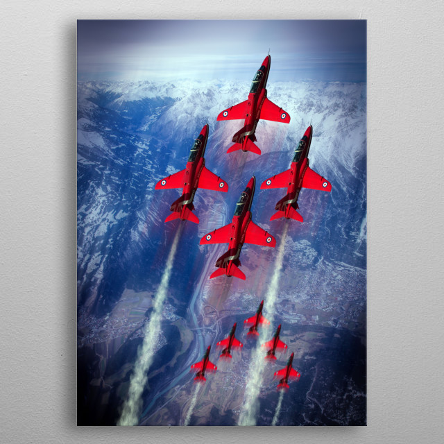 The RAF Red Arrows display team.  The Red Arrows fly the Hawk  metal poster