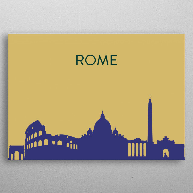 A minimal landscape poster of Rome's amazing skyline. These are inspired by my own desire to have a showcase of all the cities I've visited. The skyline features the Colosseum, St. Peter's Basilica and the Arco di Costantino. metal poster
