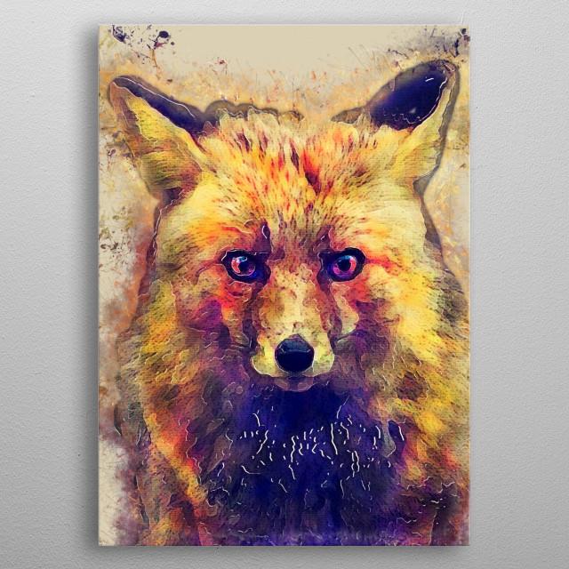 Little fox metal poster