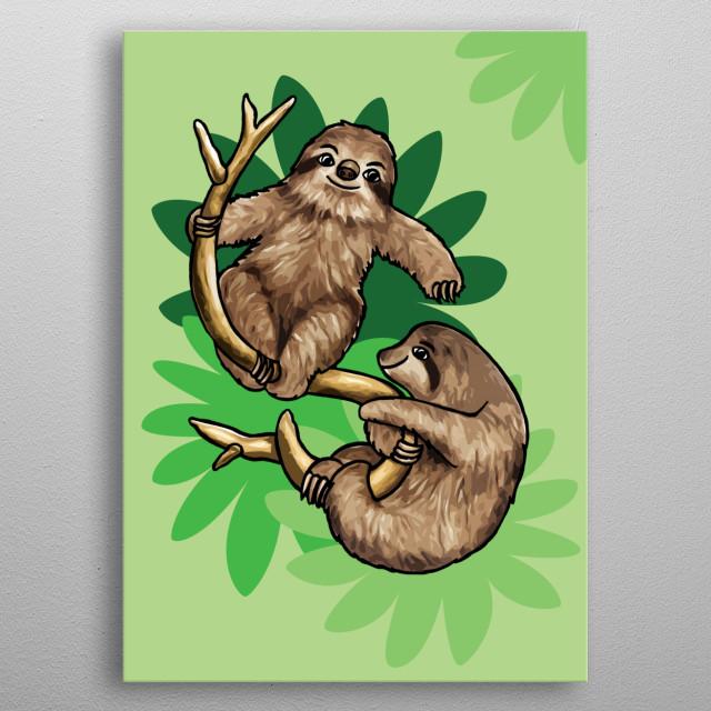 Pair of Sloths metal poster