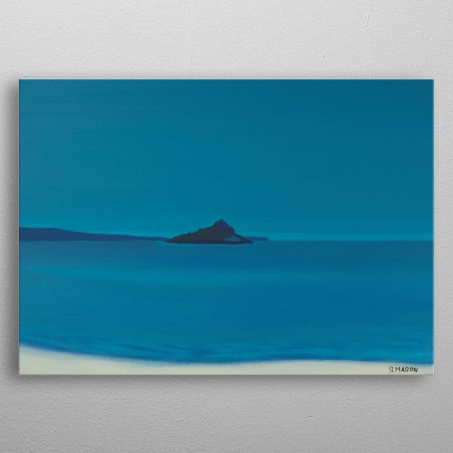 Blue island.A tranquil day looking onto st michaels mount. metal poster