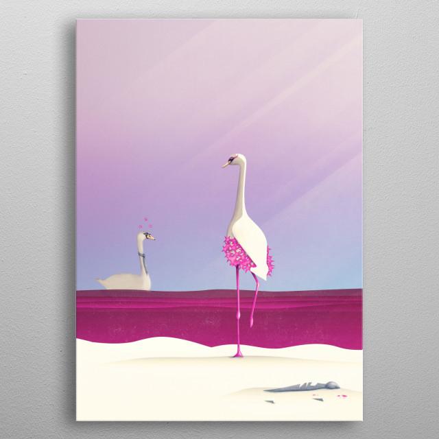 Flamingo Fatale   Digital Art, 2016 metal poster