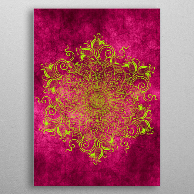 High-quality metal print from amazing Mandalas collection will bring unique style to your space and will show off your personality. metal poster