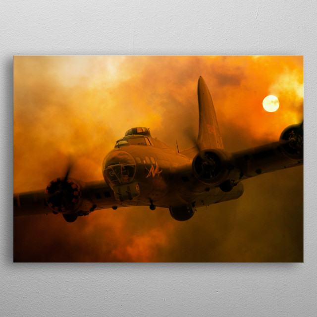 Europes only air worthy B-17 Flying Fortress.  Carry the nose art Sally B seta aginst a firey sky metal poster