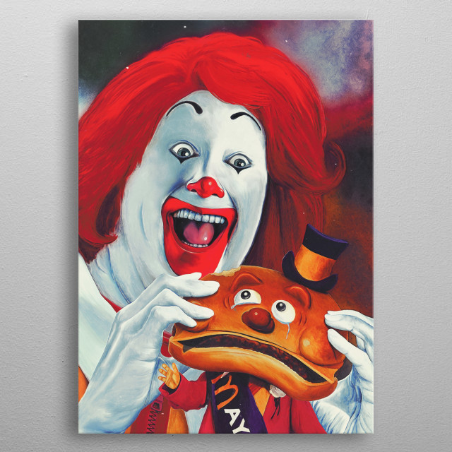 Hamburger, Food, McDonalds, clowns, horror, funny, art, painting, poster, movies metal poster