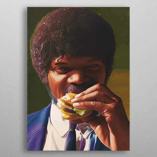 Samuel L Jackson, hamburger, movie, portrait, agent, guns, pulp fiction, celebrities, metal poster