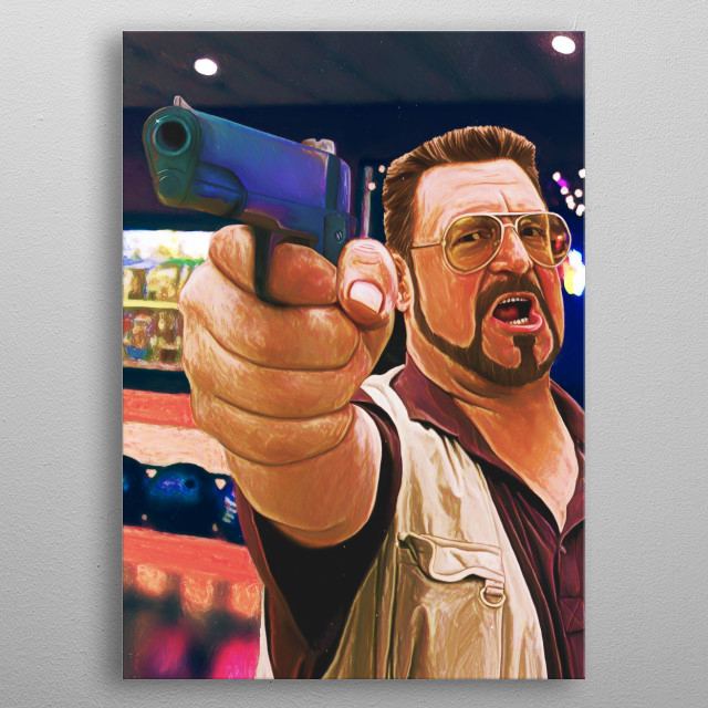 Walter, the big lebowski, portrait, funny, art, poster, movies, alcohol, drunk, drink, bar, bowling, Guns, america metal poster