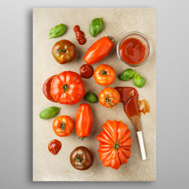 Assortment of fresh French heirloom tomatoes, basil and tomato ketchup on natural stone surface metal poster