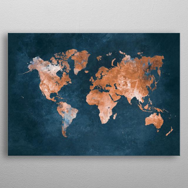 World map metal poster