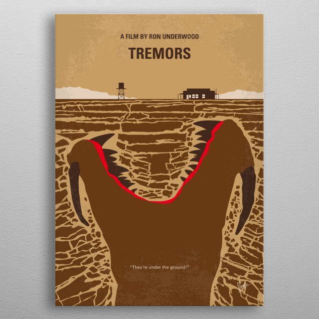 No688 My Tremors minimal movie poster Natives of a small isolated town defend themselves against strange underground creatures which are killing them one by one. Director: Ron Underwood Stars: Kevin Bacon, Fred Ward, Finn Carter metal poster