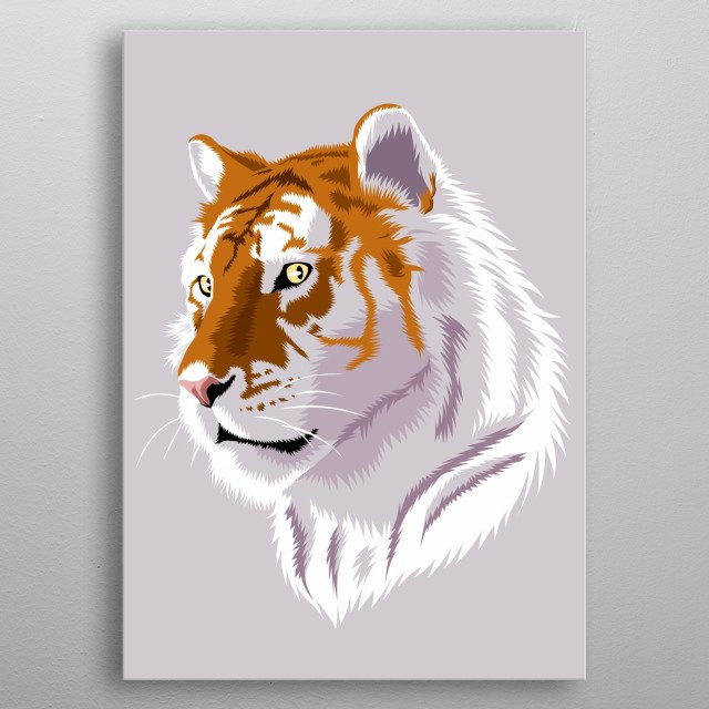 Tiger white metal poster